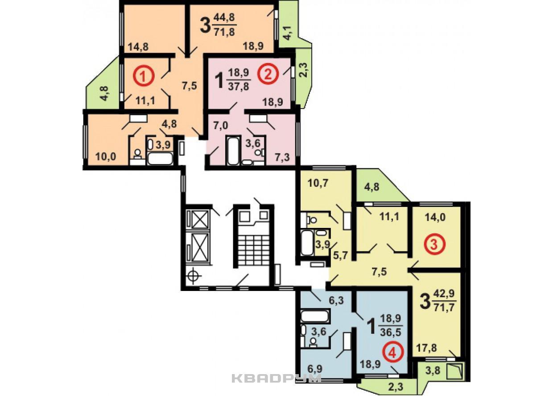 Типовой жилой дом серии п-44т планировки квартир, фото.